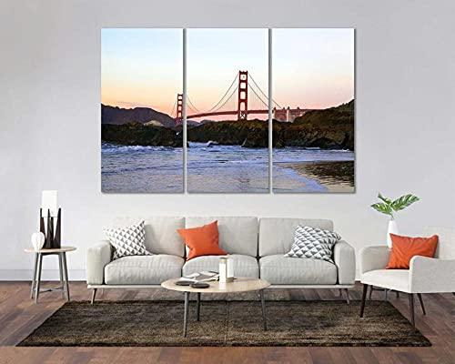 QUANQUAN Stampe e Quadri su Tela - 3 Pezzo Golden Gate Bridge di San Francisco Murale Tela Wall Art con Cornice per Moderna Home Decor Regalo di Anniversario Natale 150X70Cm- XXL Immagini Murale