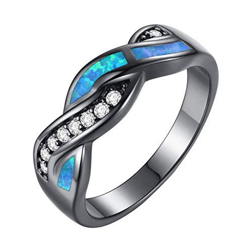 Swyss Fashion Wave Blue Fire Opal CZ Cross Band Wedding Ring Black Gold Engagement Band Jewelry Gift