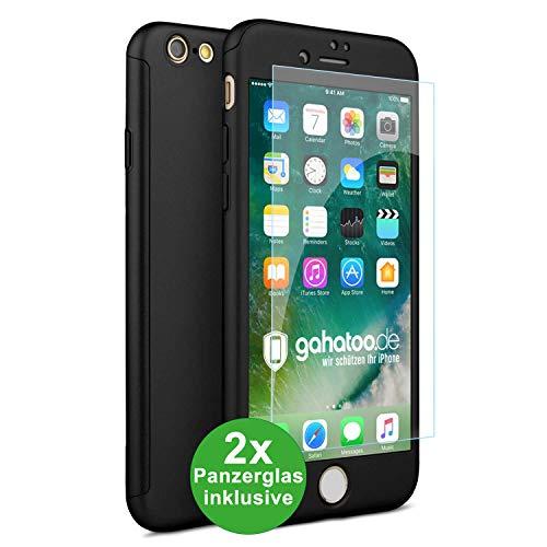 CASYLT iPhone 6 / 6s Hülle [inkl. 2X Panzerglas] 360 Grad Fullbody Premium Handy-Hülle Schwarz kompatibel für iPhone 6 Komplettschutz Hülle