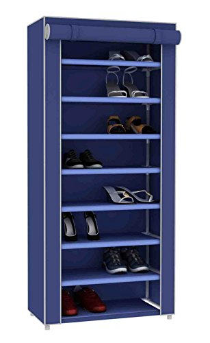 Sunbeam Multipurpose Portable Dust Free Wardrobe Storage Closet Rack For Shoes and Clothing 7 TierFits 24 Pairs of Shoes Heavy Duty Non Woven Material Gray With Roll Down Cover Navy