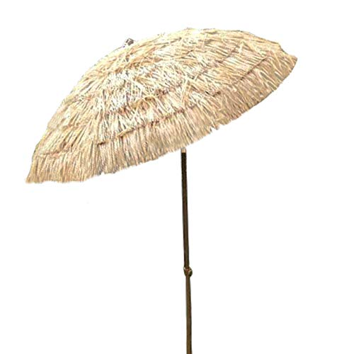 Parasol De Jardin Extérieur De Paille De Plage Style Hawaïen -Inclinable 40 °, 1,6 M De Diamètre 2,1 M De Hauteur Poteau en Fer 32 Mm - Couleur Naturelle