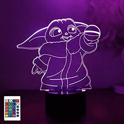Amazon - Save 60%: 3D Illusion Night Light with Remote and Stickers, 16 Color Change Decor Bedsi…