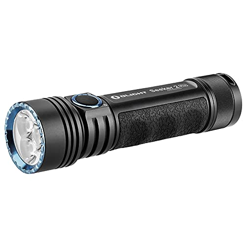 OLIGHT Seeker 2 Pro 3200 Lumens Rechargeable LED Side Switch Tactical Flashlight Law Enforcement Search Light with Power and Brightness Indicator,5000mAh Customized Battery,Holster,Charger