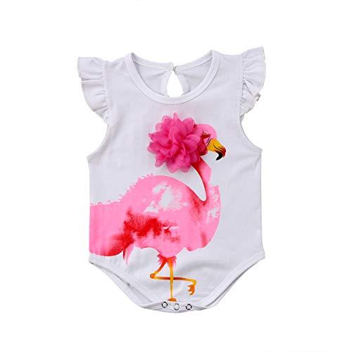 Carolilly Pagliaccetto Neonata Estivo Bimba Body Senza Manica con Ricamo Floreale Tutina Neonato Cotone con Stampa Flamingo Rosa (da 0 a 18 Mesi)