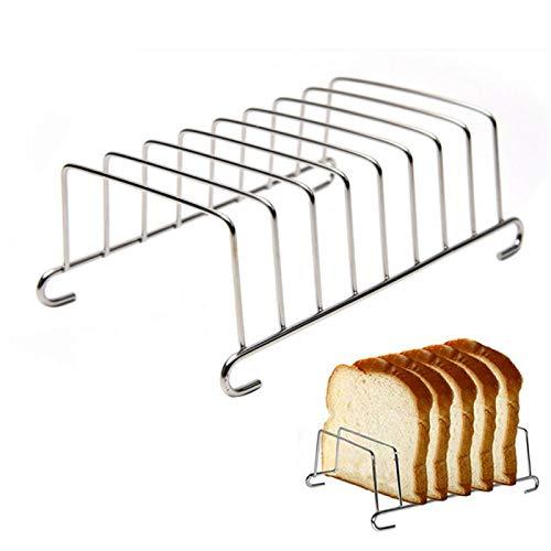 DSFSAEG Porta pan tostada soporte 8 rebanadas herramienta de acero inoxidable rejilla de refrigeración pan rack rectangular freidora accesorios organizador (tamaño: 15,5 x 9 cm)
