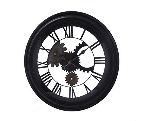 Wall Clock Retro 3D Gears Roman Numerals Design Industrial-Style Iron Art Office Bar Cafe Home Decoration Metal Hanging Clock-mit transparenten Glasspiegel