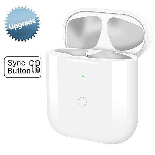 Kabelloses Ladecase Kompatibel mit AirPods 1 und 2 mit Bluetooth Synchronisierungstaste Sync Button (Air Pods Nicht Enthalten) (Weiß)