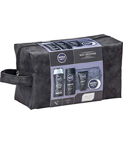 NIVEA MEN Well Groomed Gift Set for Him (5 Products), Men´s Grooming Kit & Washbag, Includes Shower Gel, Cleansing Men's Face Wash, Shampoo, and Men´s Moisturiser