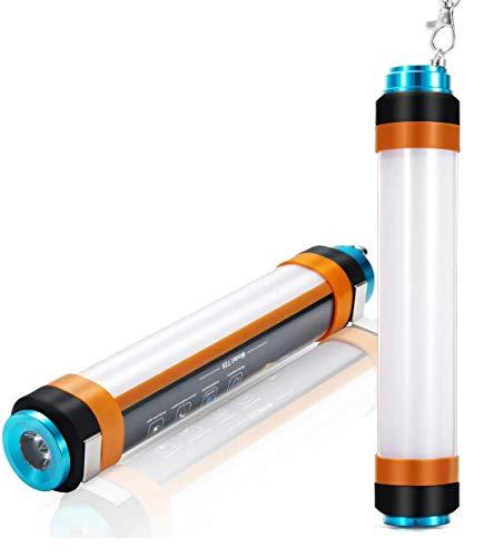 ALFLASH Linterna de camping recargable por USB, luz LED regulable IP68, resistente al agua, multifunción, portátil, para camping, banco de energía magnética repelente de mosquitos (10 pulgadas/260 mm)