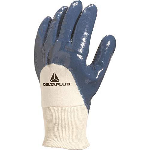 Deltaplus NI15009 Handschuh Mit Nitrilbeschichtung, Handrücken Offen, Elastischer Strickbund, Blau, Größe 09