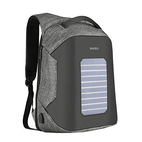 Cool&D Solar Rucksack 5 Watt Solar Paneel mit 2.0 USB-Port und mit USB-Ladeanschluss in der Außenseite des Rucksacks 15.6 Zoll Laptop Rucksack Öffnen in der Rücken