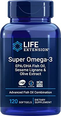 Super Omega-3 EPA/DHA with Sesame Lignans and Olive Extract 120 Softgels