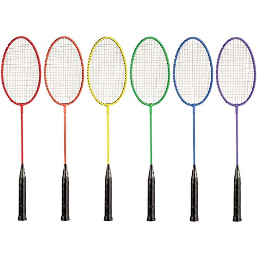 Champion Sports Tempered Steel Badminton Rackets Set of 6