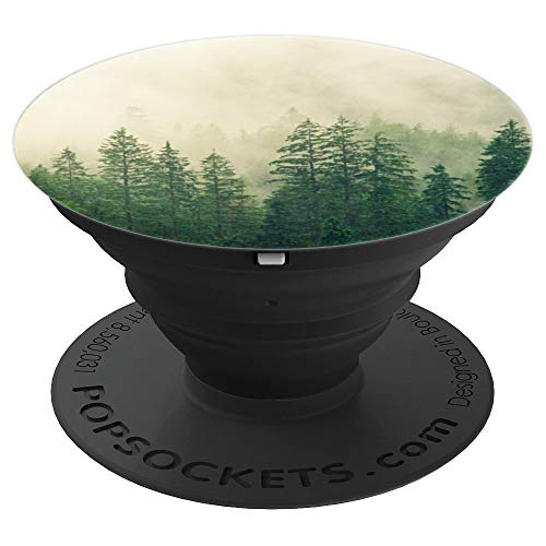 Pine Tree Forest Trees Outdoor Foggy Mountains PopSockets Grip and Stand for Phones and Tablets