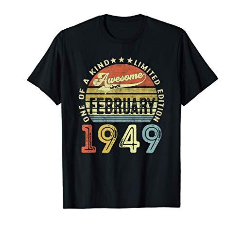 72 Anni Compleanno Uomo Donna Regalo Vintage Febbraio 1949 Maglietta