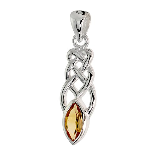 Sterling Silver Genuine Citrine Celtic Motherhood Knot Pendant, 1 1/8 inch Long incl. Bale
