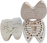 AIUIN 1X Caja Almacenamiento Madera con Hebilla de Imán Almacenaje para Dientes De Leche Regalo de Amor para Little Nephew Versión Español(Contiene Pinzas pequeñas) (Niño)