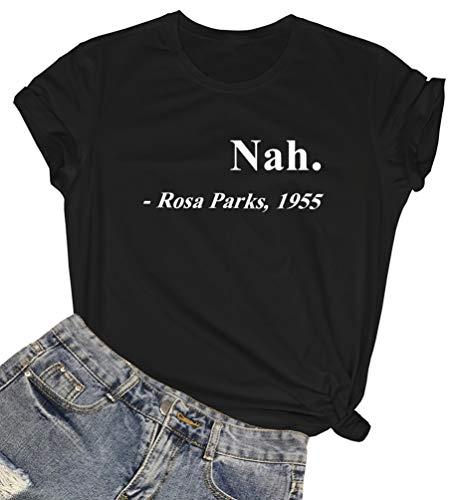 ROSEPARK Women Cute Funny T Shirt Teen Girl Graphic Tee Black XX-Large