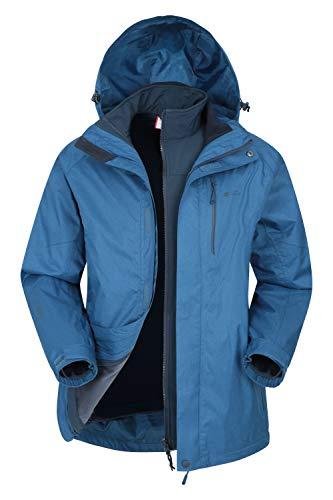 Mountain Warehouse Climb Extreme Chaqueta Impermeable 3x1 Hombre - Chubasquero de Costuras pegadas, Top con Interior Separable, Softshell, cómodo - Verano, Senderismo, Invierno Cobalto M