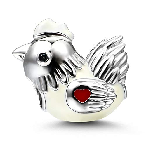 GNOCE Chicken Charm Bead Sterling Silver Diligent and Hard Working Zodiac Signs Animal Charm Bead Fit Bracelet/Necklace Jewelry Gift for Women Mens