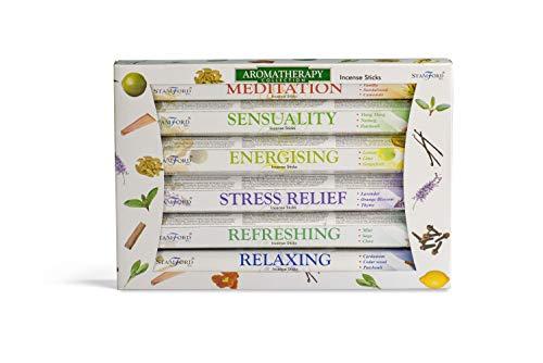 Stamford INC. 37322 Premium Aromatherapy Hex Range Sticks-Relaxing, Stress Relief, Meditation, Refreshing, Sensuality & Energising Incense Gift Pack, Black, One Size