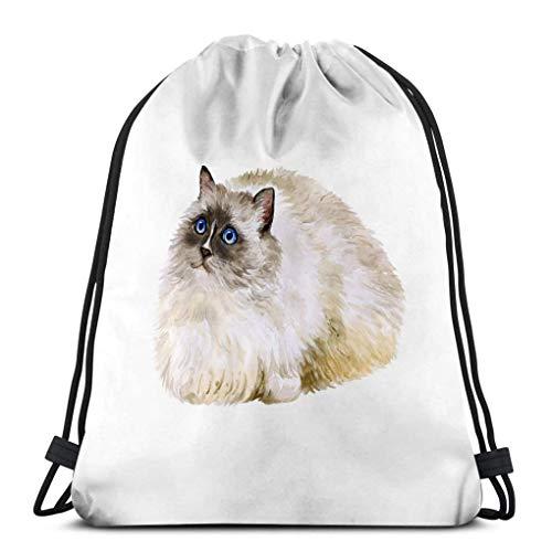 Light Ing Sac à Cordon Sac de Sport Aquarelle Portrait American USA Ragdoll Cat Blanc Sweet Home Pet Couleurs Vives Look réaliste Bleu