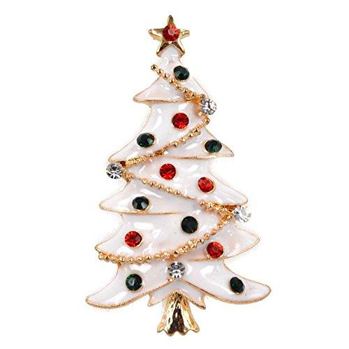 SODIAL 1 x moda elegante diamante albero di natale da sposa spilla da sposa pin strass coperto sciarpe scialle clip per gioielli da donna delle signore