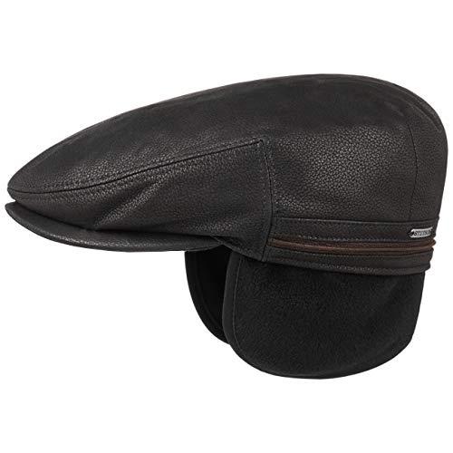 Stetson Gorra de Piel Kent Earflaps Hombre - Orejeras con Visera, Orejeras, Forro otoño/Invierno - 62 cm Negro