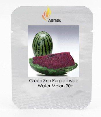 pinkdoseâ ® 2018 vente chaude cuir vert violet dedans douce grand Pastèque F1 'Wu Hei' Seeds, 1 boite professionnelle, 20 graines/boîte, 11% sucre Melon fruits