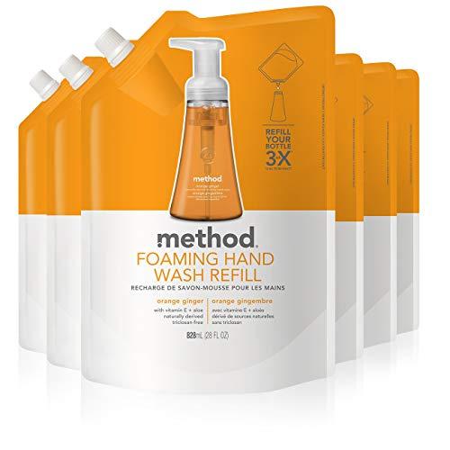 Method Foaming Hand Soap Refill, Orange Ginger, 28 Fl Oz (Pack of 6)