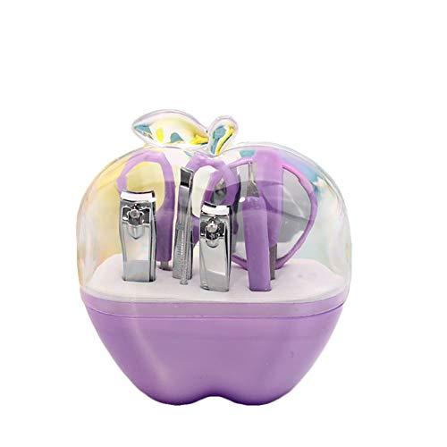 9 pièces en 1 staineless manucure pédicure Pick oreilles et coupe-ongles en forme de pomme pour Voyage Violet 1pc