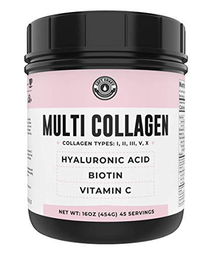 Collagen with Biotin, Hyaluronic Acid, Vitamin C (1 lb Powder) | Hydrolyzed Multi Collagen Peptide Protein (Types I, II, III, V, X). Collagen for Hair, Skin, Nails. Collagen Supplement for Women, Men