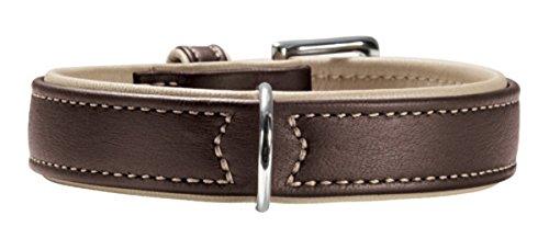 HUNTER CANADIAN Hundehalsband, Leder, hochwertig, weich, 60 (M-L), dunkelbraun/beige