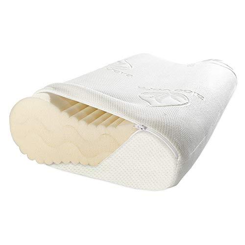 maxVitalis Höhenverstellbares Nackenstützkissen, orthopädisch, ergonomisches Kopfkissen Visco-Mineralschaum, mit Aloe Vera Bezug 60 x 35 cm, Weiß