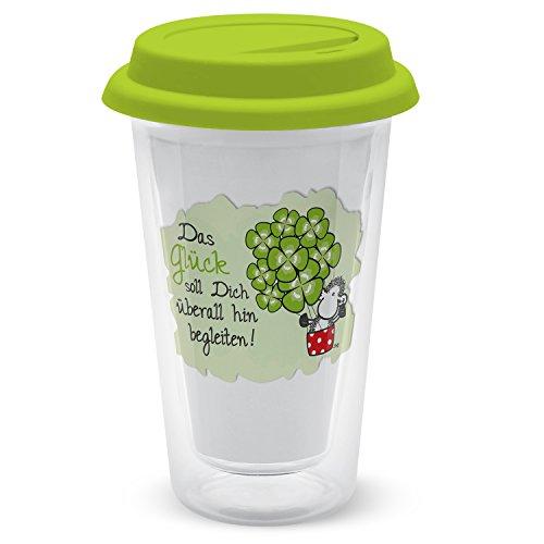 Die Geschenkewelt Sheepworld 44898 Glück soll Dich überall hin begleiten, doppelwandiges, 35 cl, grün Glas-Becher, 9 cm