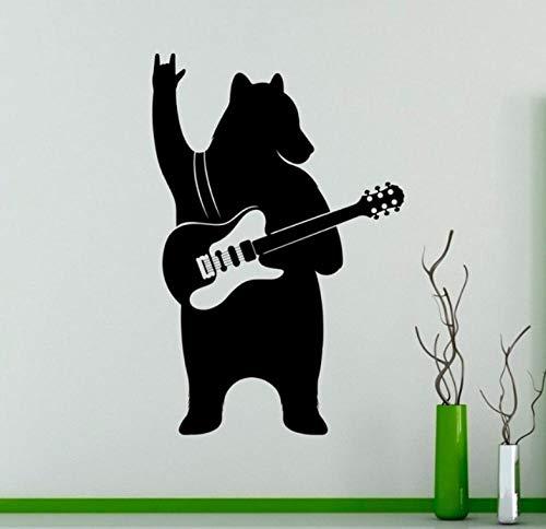 Muursticker 42 x 63 cm gitaar muziek dier grappig huis zwart wandlamp wandbehang van PVC decoratie modern waterdicht zelfklevend creatief DIY