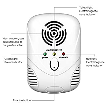 POOPFIY Ultrasonic Pest Repeller, Upgraded Pest Control ultrasonic, Insect Repellent Repel Rats, Bugs, Flea, Fly, Spiders, Pest Repeller Plug Electronic Mosquito Repellent