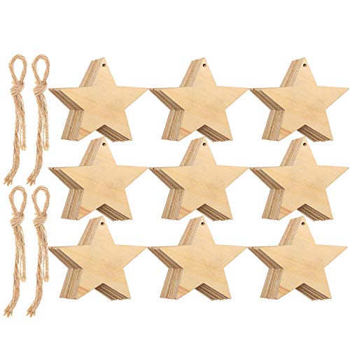 Wooden Star Cutouts Christmas Star Wooden Ornaments Hanging Ornaments with Ropes for Embellishments, Wedding, DIY, Craft, Festival (100 Pieces)