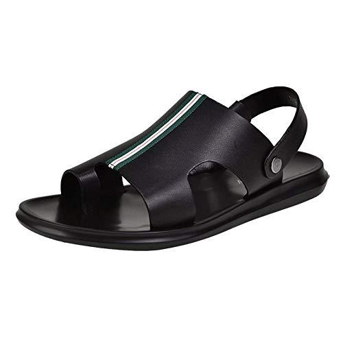 Czcrw Los Hombres de Punta Abierta de Cuero Casual Zapatos de Confort Sandalias Moda Casual Zapatos de Playa Plataforma Hueca Slip Sandalias Zapatillas cómodas (tamaño : 38 EU)