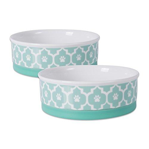 Bone Dry Lattice Collection Pet Bowl & Canister, Medium Round - 6 x 6 x 2, Aqua, 2 Piece