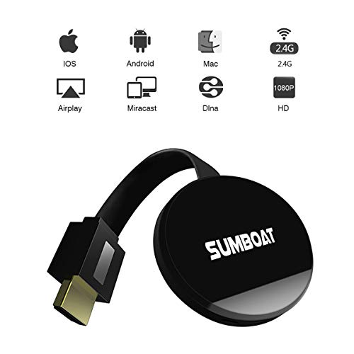 SUMBOAT WiFi Display Dongle Ligthning Wireless Screen Share HDMI 1080P TV Stick Converter Adapter for Streaming Video Picture Files Support DLNA AirPlay Miracast