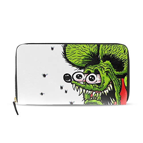 Women Printed Zip Around Wallet Humor Rat Fink Leather Phone Clutch Travel Card Holder Purse