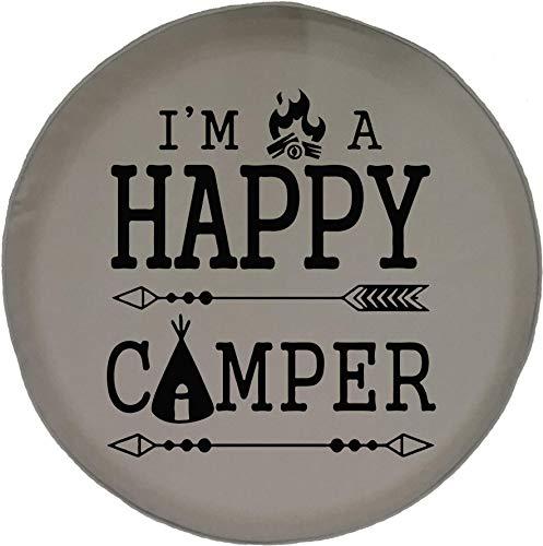 Niet toepasbare wheeltje, met gelukkige kampvuurtent, op reis, camping, voor buiten, vakantie, universele bandendiameter, druk bonte duurzame 4 maten, waterdichte bandendiameter P 17in/80~83cm 1