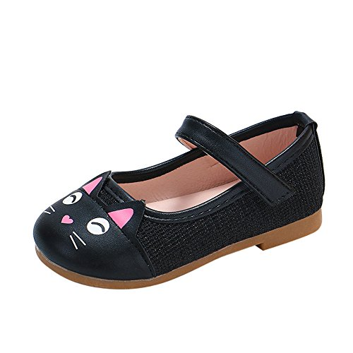 Kimloog Toddler Baby Girls Cartoon Cat Leather Mary Jane Shoes Soft Rubber Sole Princess Shoes Black