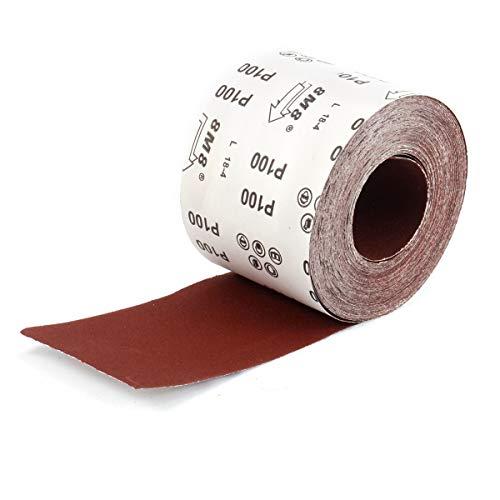 25mx115mm Schleifpapier auf Rolle Schleifpapier-Rolle Rollenschleifpapier Schleifmittel Schmirgelpapier starkes Handschleifpapier Korund P100 fuer Metall und Holz Lack 115 mm Rot