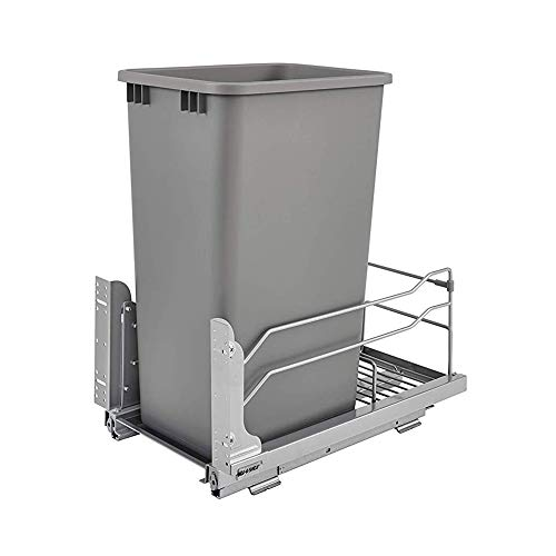 Rev-A-Shelf 53WC-1550SCDM-117 Single 50-Quart Kitchen Base Cabinet Pull Out Waste Container Trash Can with Soft-Close Slides, Gray