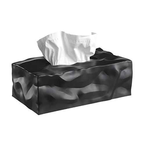 Essey 14414 Kosmetiktücher-Box Wipy II, rechteckiger Taschentuchspender, schwarz