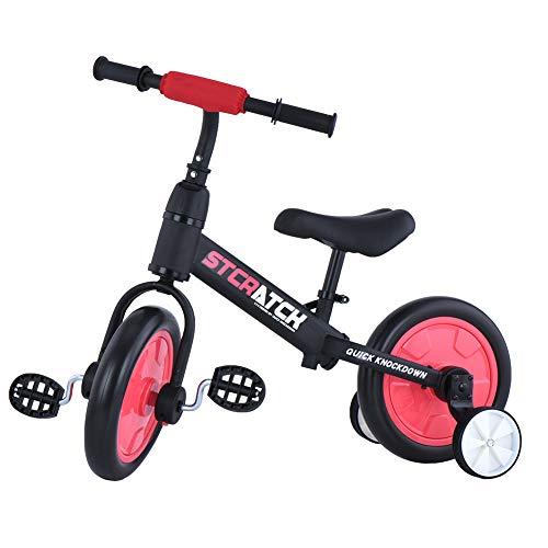 Laufräder Laufrad Mit Stützrädern und Pedalen, 4-in-1-Kinderdreirad für Jungen und Mädchen im Alter von 2 bis 5 Jahren (Rot, JL101)