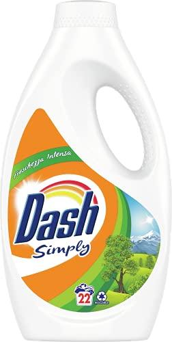 Dash Simply Detersivo Lavatrice Liquido, 22 Lavaggi, Freschezza Intensa, Maxi Formato, Pulizia Profonda, per Tutti i Capi