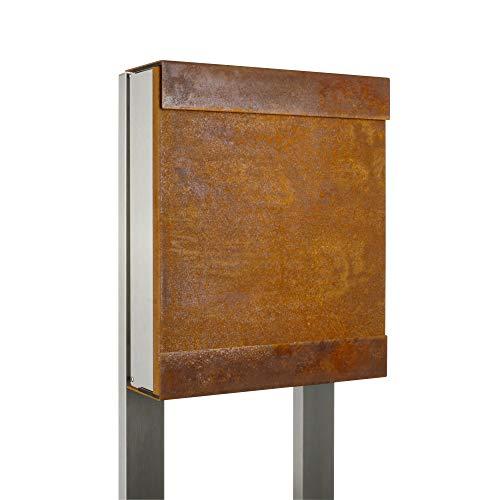 Keilbach, Briefkasten glasnost.iron, Edelstahl/korrodierter wetterfester Stahl, hochwertige Verarbeitung, Klassiker seit 2000, Design Award: FORM 2001